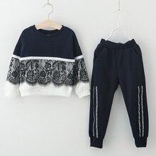 Girls Outfits Clothes-Sets Menoea Sports-Suits Long-Pants Children Splice Lace-Design