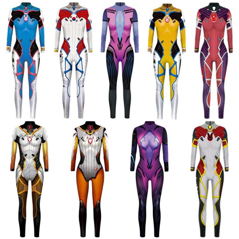 Hot Woman Game D.Va Mercy Widowmaker Cosplay Jumpsuit Costume Bodysuit Zentai Suit Halloween