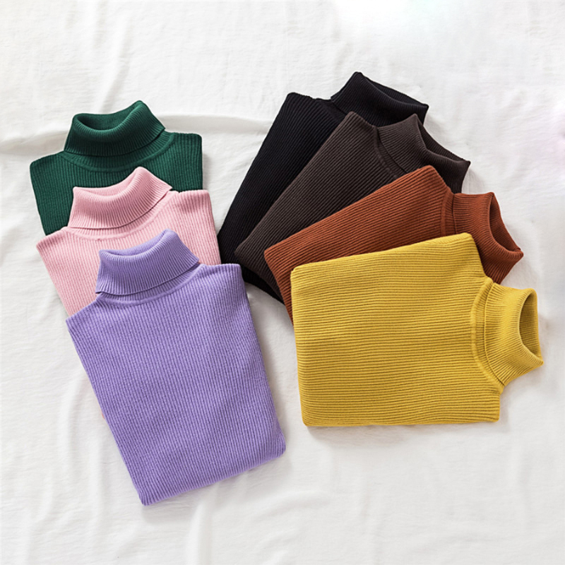 Zoki Pullovers Women Turtleneck Sweaters Fashion Spring Long Sleeve Female Jumper Autumn Korean Basic Top Soft Knitted Sweater