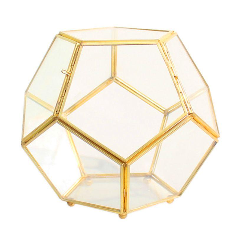 Boîte de rangement en cuivre doré à pieds fermés Terrarium géométrique en verre de verre en laiton avec porte forme boule pentagone fermeture fougère Mo