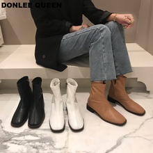 2019 Fashion Women Ankle Boots Flat Heel Square Toe Zipper Boots Solid Female Shoes Women Casual Soft Boots Black  zapatos mujer prova perfetto winter fashion silver ankle boots women cross tied real leather high heel boots square toe zapatos mujer boots