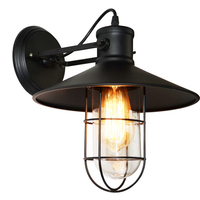 Vintage Industrial Wall Light with Glass Lampshade Black Iron Metal Wall Lamp  for Indoor Outdoor Bedroom Home Kitchen Bar|industrial wall sconce|wall sconce|industrial wall -