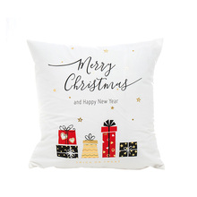 New kawaii white golden Christmas sofa cushion covers no inner hot stamping washable interesting decorative pillow X27