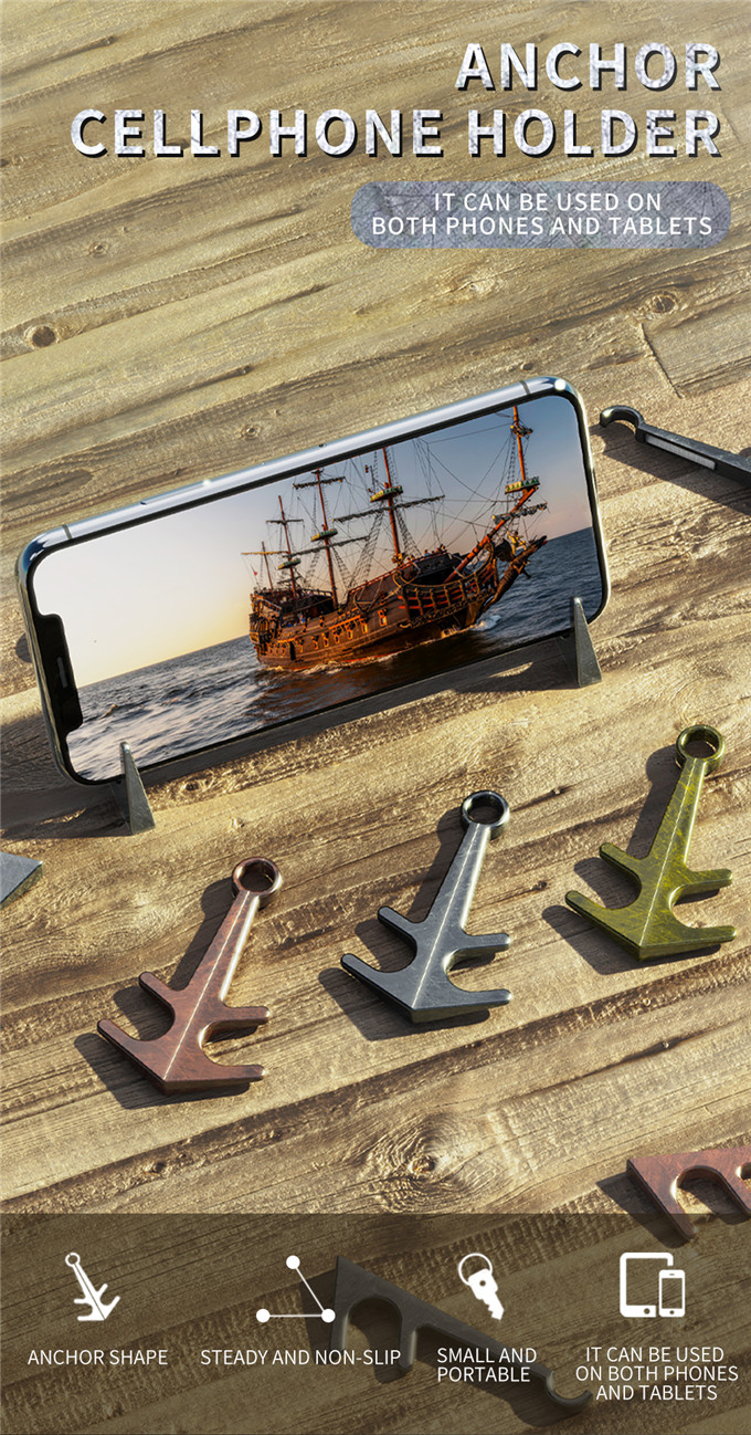 Fashion Mini Anchor Phone Desk Mount Stand Phone Holder Bracket for Cell Mobile Phone Tablets Outdoor Bracket