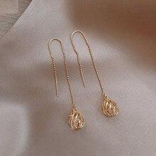 Jewelry Drop-Earrings Tassels Crystal Women Korean Hollow-Ball-Design Long Fine Dominated