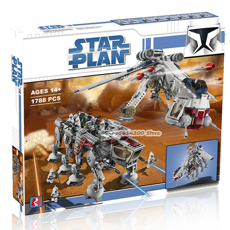 05053 1788Pcs Genuine Star Wars Republic Dropship with AT-OT Walker Set Building Blocks Bricks Compatible Lepining <font><b>10195</b></font> Toys image