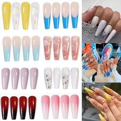 24pcs Professional Fake Nails Long Ballerina Half French Acrylic Nail Tips Press On Nails Full Cover Manicure Beauty Tools