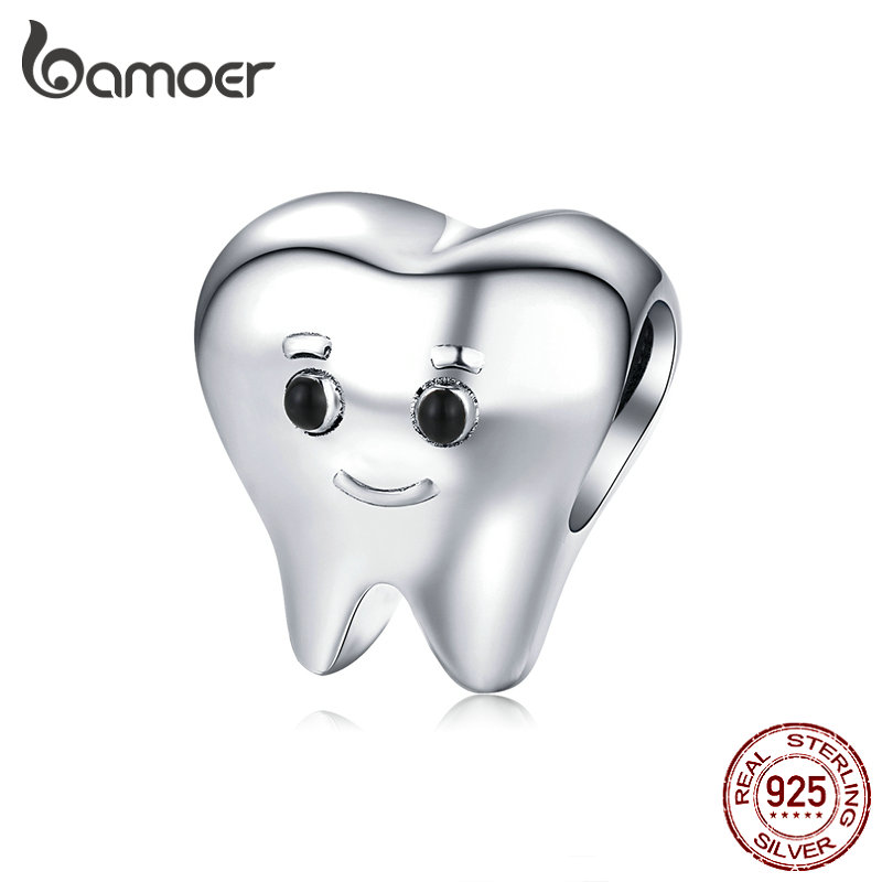 bamoer Genuine 925 Sterling Silver Lovely Tooth Metal Charm for Silver Snake Bracelet Bijoux Cute Baby Dentist Bijoux SCC1401(China)