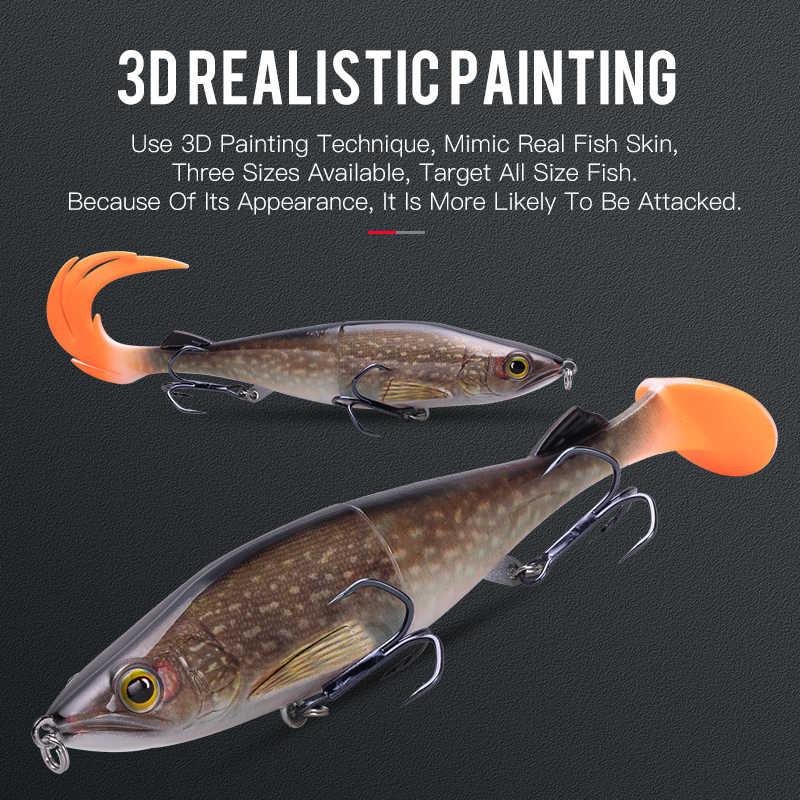 Reino gemini iscas de pesca, 14g, 28g, 41g, afundamento, corpo abs, com suave t-tail e flame cauda girar isca macia para pique