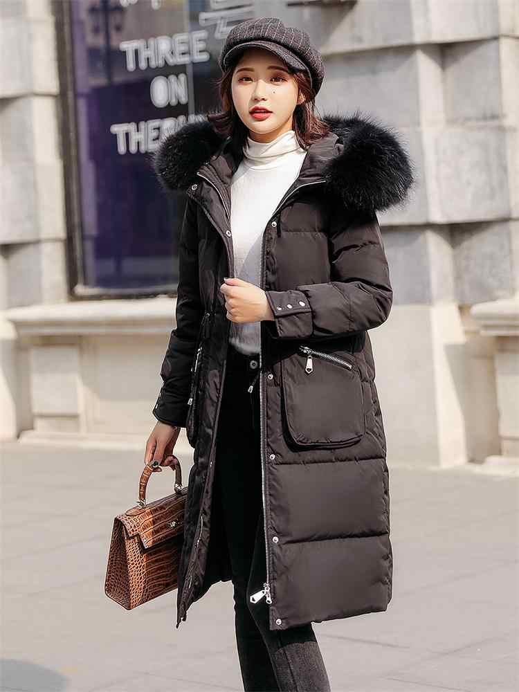 AYUNSUE ジャケット女性 90% ホワイトダックダウンコート冬コート女性毛皮の襟ダウンジャケット韓国フグジャケット Nub888 YY1376