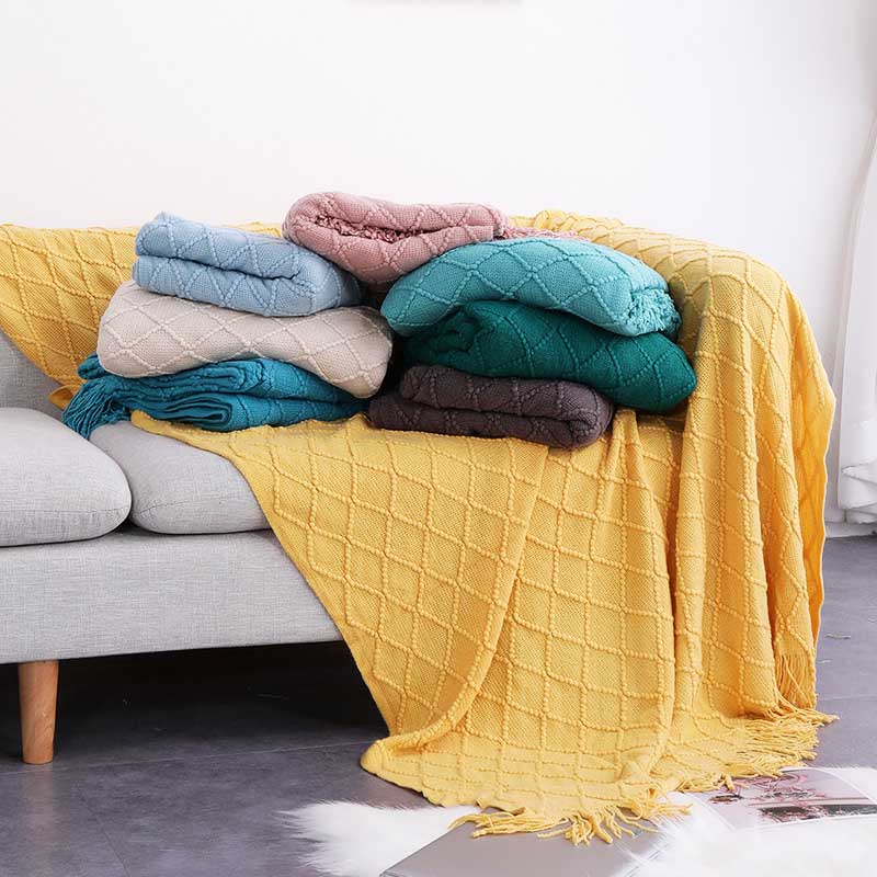 Nordic Knitted Throw Thread Blanket Bed Sofa Plaid Travel  Soft Towel  Tapestry