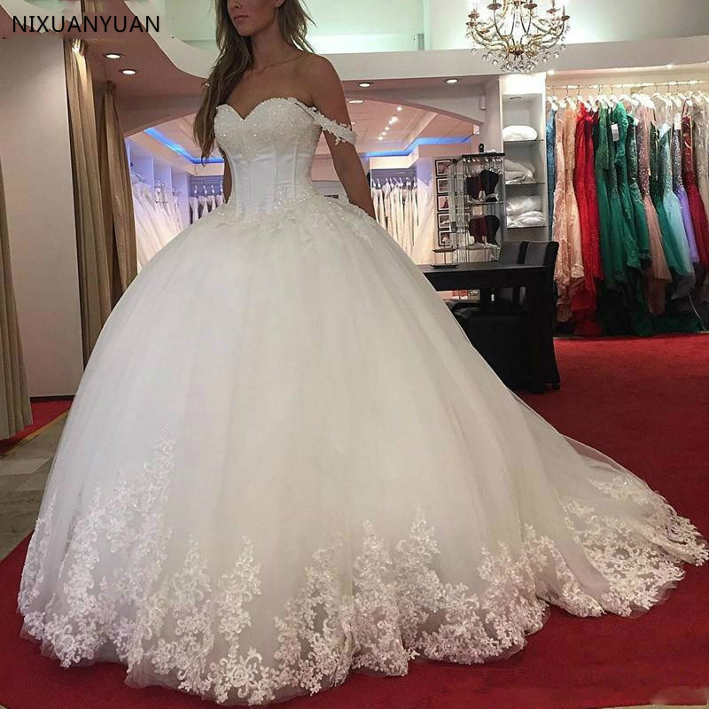 White Lace Appliques Ball Gown Wedding Dresses 2020 Sweetheart Beaded Princess Bride Dresses Robe De Mariee
