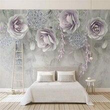 Custom Mural Wallpaper  Lilac Flowers 3D Embossed Flowers TV Background Wall Painting