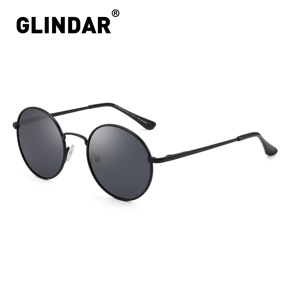 Spring Hinge Polarized Round Sunglasses Retro Men Women Vintage Sunglasses Brand Design Sun Glasses Polarized Black