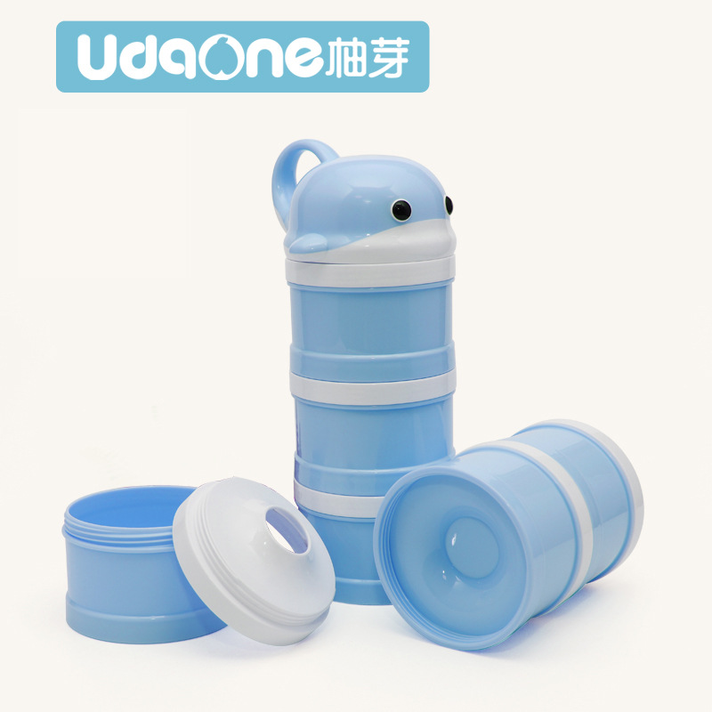 Pomelo Bud Dolphin Milk Container Portable With Cartoon Three-layer Milk Powder Boxes Infant Lightweight Cute Milk Cans