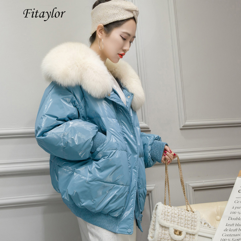 Fitaylor Winter 90% White Duck Down Parka Warm Large Real Fox Fur Collar Loose Breadwear Female Bright Side Streetwear Outwear
