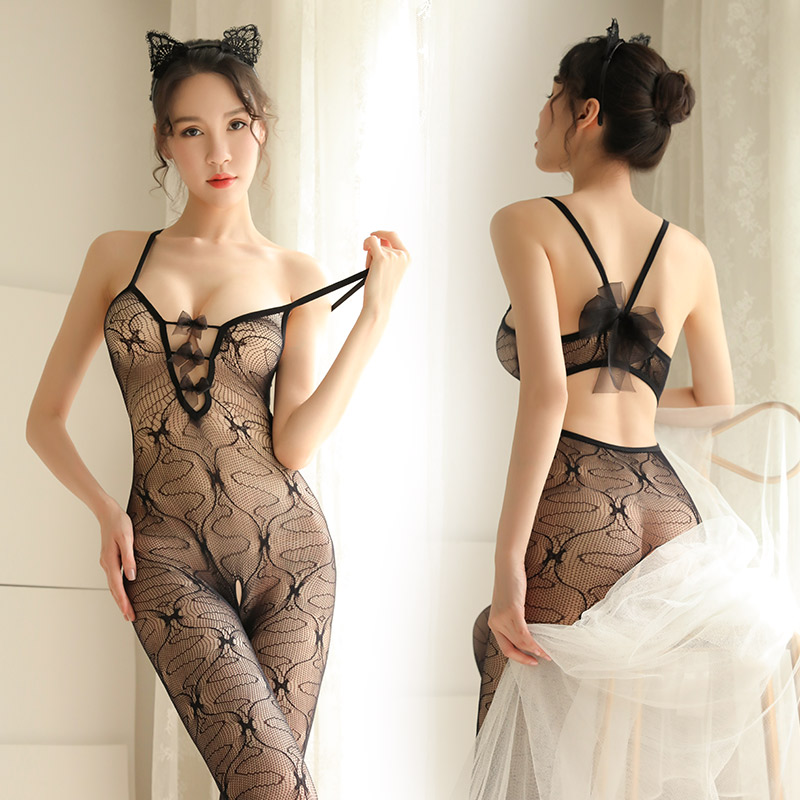 Sexy Fishnet Babydoll Mesh See Through Underwear Nightwear Women's Sexy Crotchless Teddy Lingerie Black Body Stockings