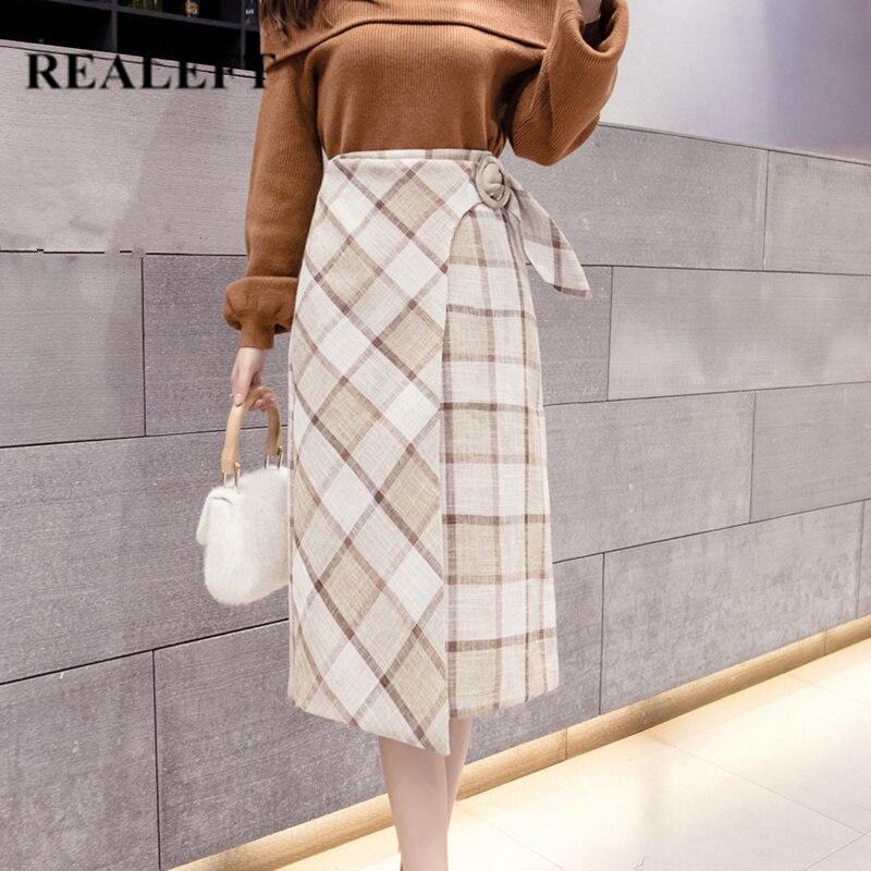 REALEFT Autumn Winter Women Elegant Woolen Plaid Midi A-Line Skirts High Waist A-Line Knee-Length Skirts Saia Female 2019 New