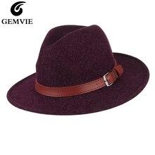 GEMVIE новая шерстяная шляпа с широкими плоскими полями для женщин и мужчин, фетровая шляпа с пряжкой и кожаным ремешком, теплая осенне-зимняя Панама, джазовая Кепка