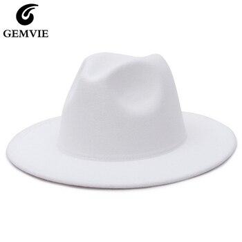 GEMVIE All-match Wide Brim Fedora Hat For Women Solid Color Wool Felt Hat For Men Autumn Winter Panama Gamble Yellow Jazz Cap