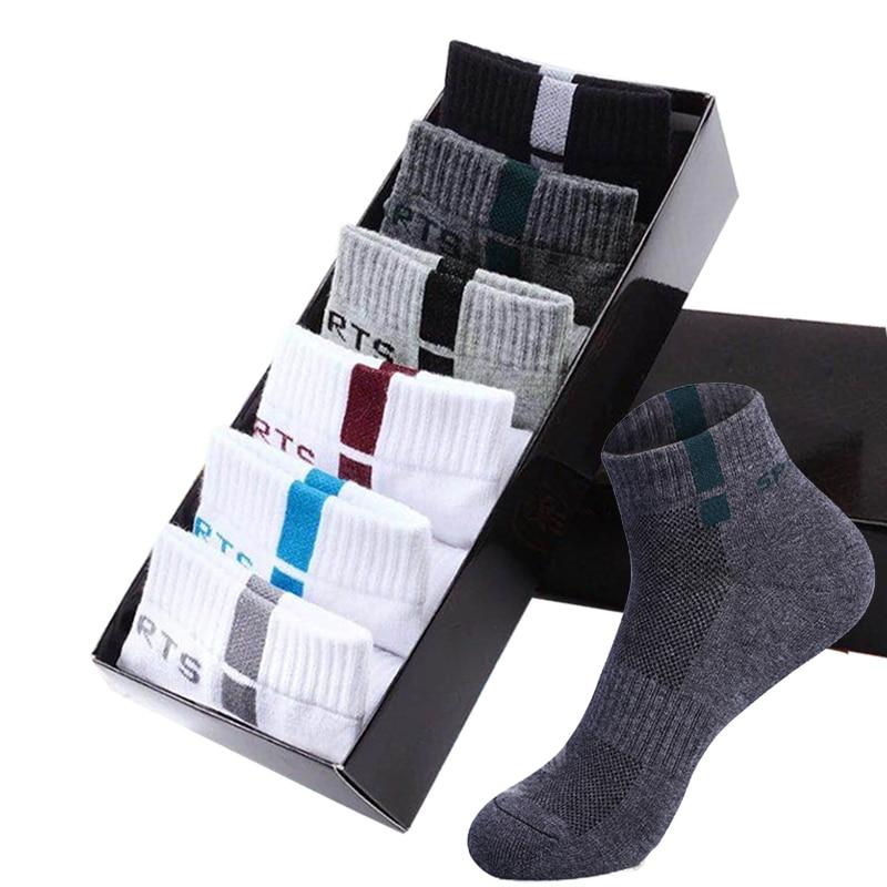 6 Pairs Mens Ankle Socks Cotton Deodorant Spring Summer Sports Thin Mesh Breathable Sock Men's Running Basketball Tennis Sox New