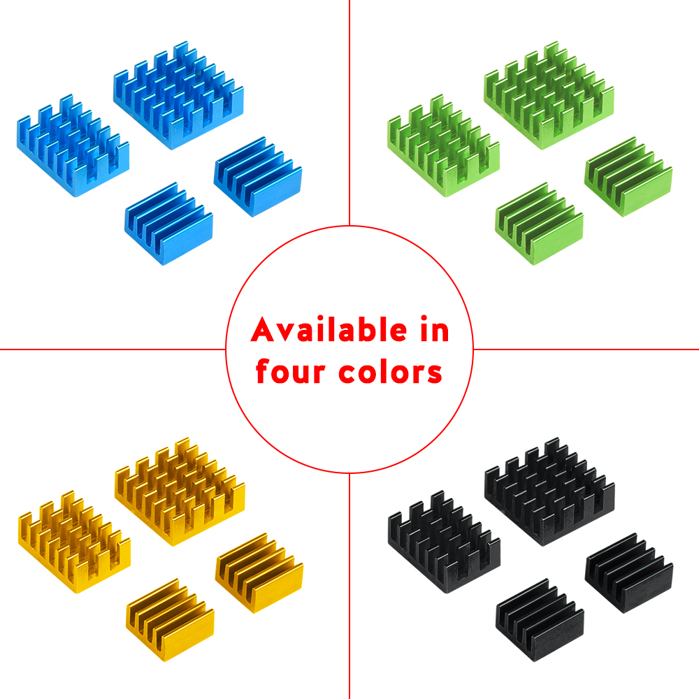4pcs Raspberry Pi 4 Heat Sink Aluminum Heatsink Cooler Kit Radiator Colden Green Black Blue For Raspberry Pi 4 Model B