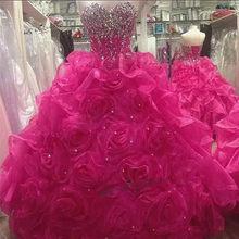 Słodkie 16 sukienki Puffy luksusowe suknia balowa Fushcia Quinceanera suknie 2020 Vestido de Debutante Para 15 anos kryształy sukienka dla 15