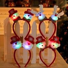 1 шт., милый светодиодный светильник, Рождественский Санта, олень, снеговик, медведь, повязка на голову, светильник, двойная повязка на голову, Рождественское украшение, navidad