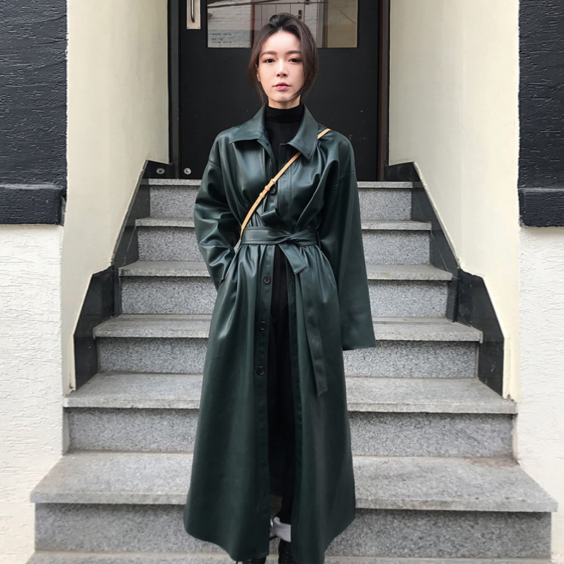 2019 New Spring Fashion Long Type PU   Leather   Windbreaker Loose Single-breasted Long Coat