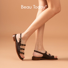 Gladiator Sandals Shoes Women Summer Strap Buckle Narrow-Band Low-Heel Genuine-Cow-Leather