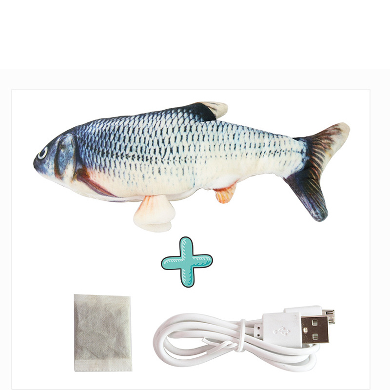 Cat USB Charger Toy Fish Interactive Electric floppy Fish Cat toy Realistic Pet Cats Chew Bite Toys Pet Supplies Cats dog toy 8