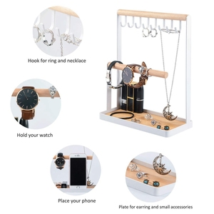 Image 5 - Jewelry Display Stand Holder with Wooden Ring Tray and Hooks Storage Necklaces Bracelets, Rings, Watches