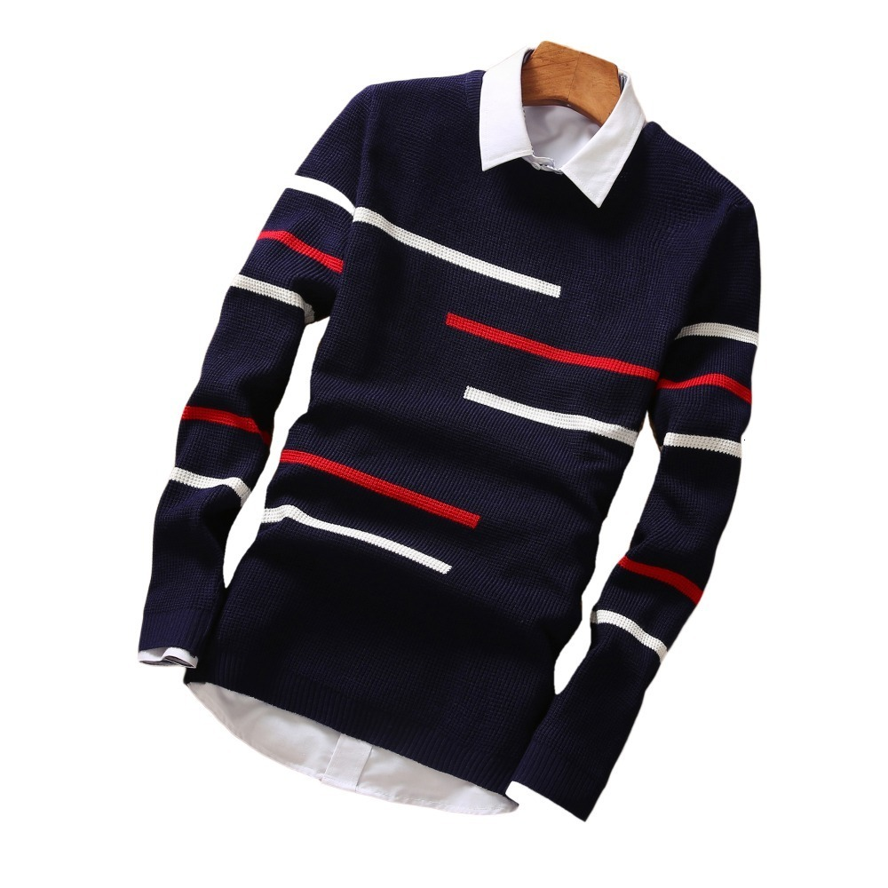Sweaters Men's Men's Men's Men's Clothes Tight-fitting Collar Round Sweater Men's Needle Long Sleeve Men's Cotton Shirt M-2xl