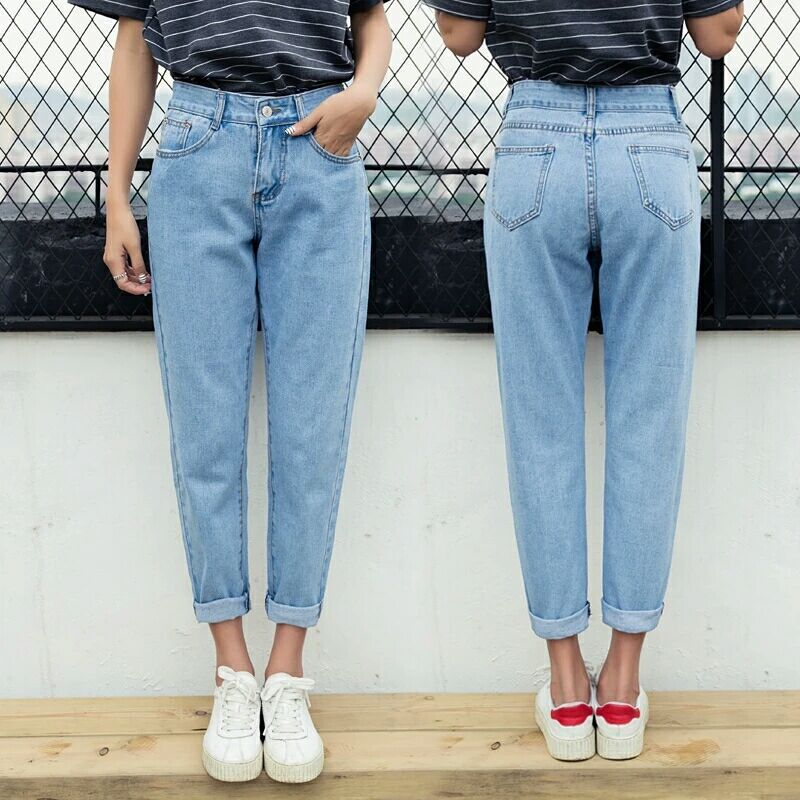 New Style Loose Version Jeans Women's Slimming Harem Pants Straight-Cut Capri Pants High-waisted Korean-style Fashion
