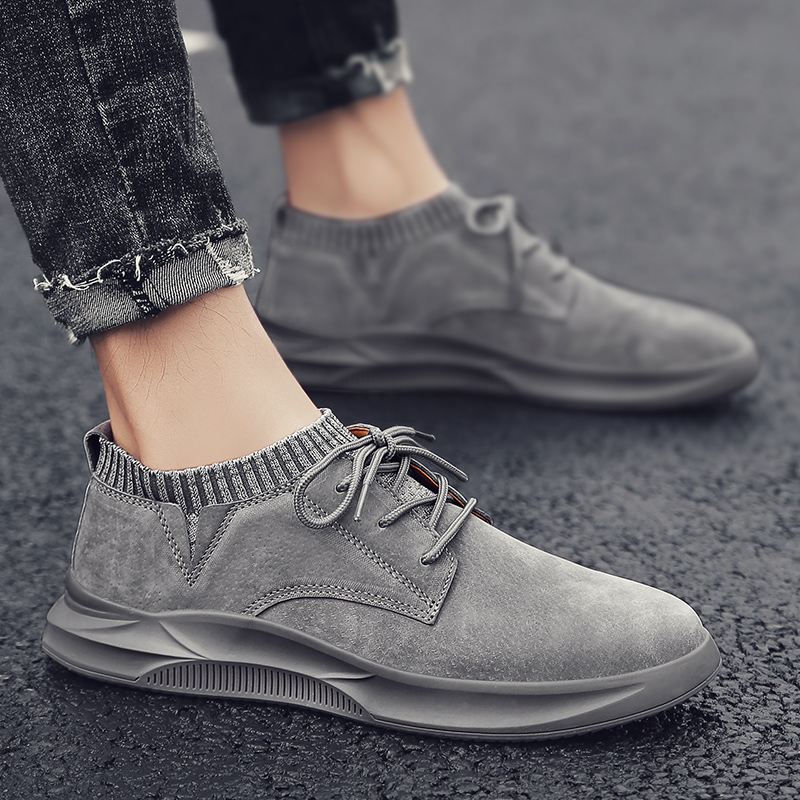fashion Comfortable Men Casual Shoes Loafers Men Shoes Quality suede Leather Shoes high top socks Man Flats Moccasins Shoes men