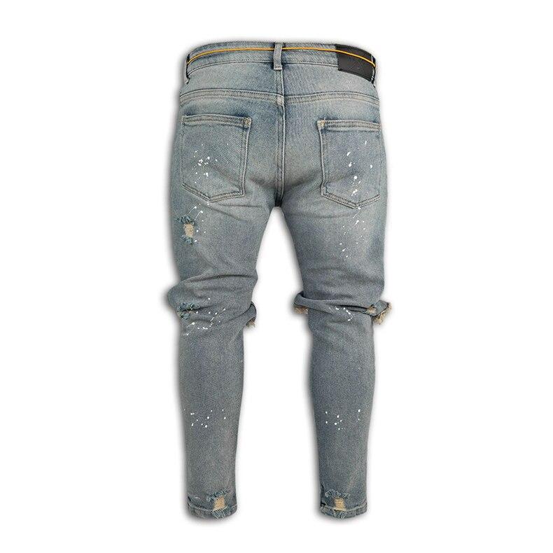 KSTUN Guys Ripped Skinny Jeans Knee Broken Holes Hip Hop Jeans Men Distressed Painting Black Blue 15