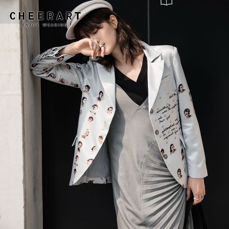 CHEERART 2020 Spring Casual Blazer Women Jacket Grey Letter Character Print High Fashion Blazer Coat Button Up