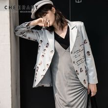 CHEERART 2020 Spring Casual Blazer Women Jacket Grey Letter Character Print High