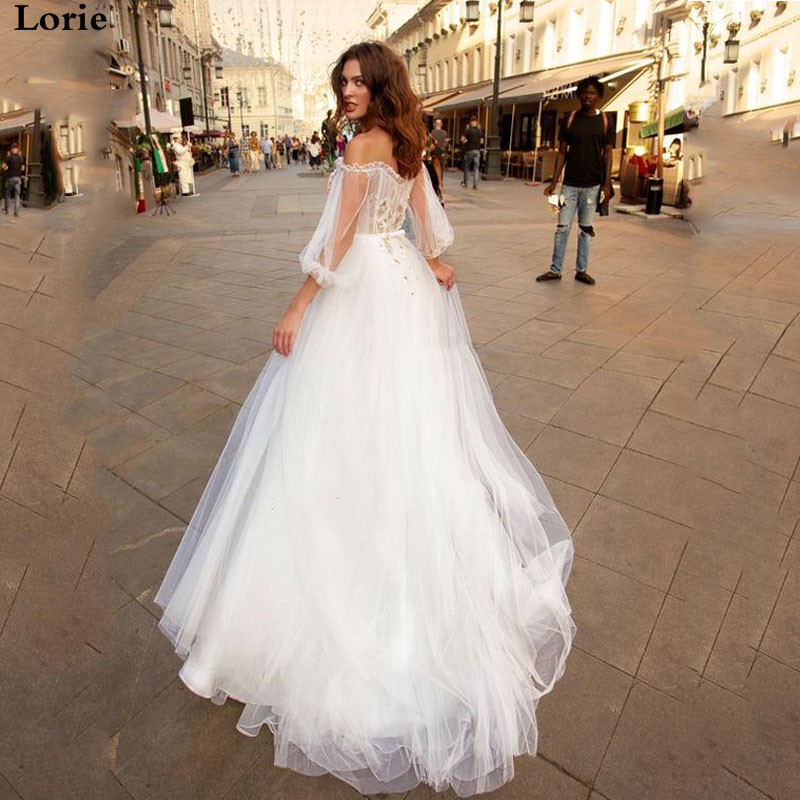 LORIE Boho Wedding Dress Puff Sleeves Vintage Bridal Dress 2019 3d Flowers Off The Shoulder Wedding Gown Floor Length