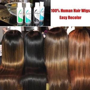 """Image 3 - Peluca con malla Frontal recta para mujer peluca de cabello humano Remy virgen Ali Queen de 8 """"a 26"""", color negro Natural, peluca Frontal de encaje 360, 13x4/13x6"""