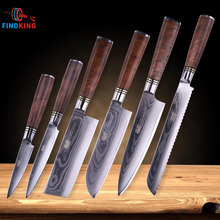 FINDKING 6 pieces Chef Knife Set Kitchen Knives Sets Japanese Quality Damascus Steel Santoku Bread knives Stainless blade Best