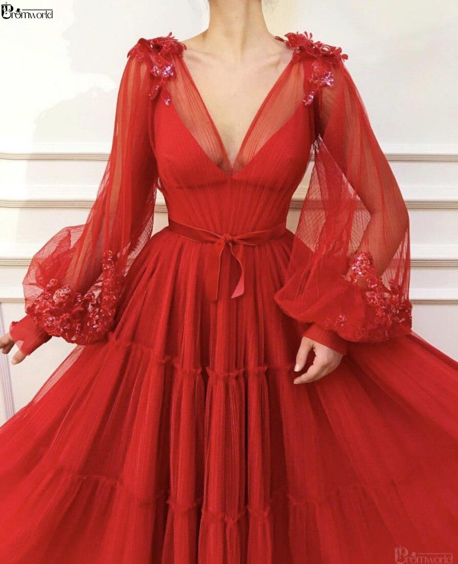 Red Muslim Evening Dresses 2020 A-Line Long Sleeves V-Neck Tulle Islamic Dubai Saudi Arabic Formal Evening Gown Long Prom Dress
