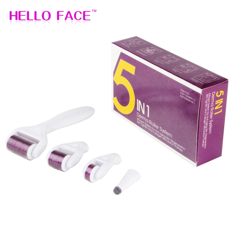 DRS 5 in 1 Derma Roller System Microneedle Stamp Eye Face Body Skin Care Dermaroller Mesotherapy