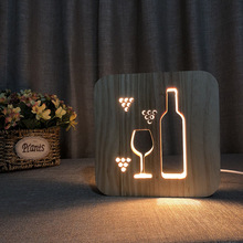 3D Wooden Night Light Glass Bottle Hollow Design USB LED Warm bedroom Solid pine openwork art Lamp birthday christmas gift