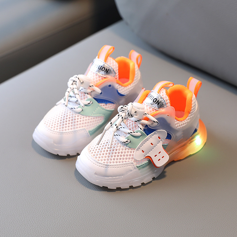 Summer Autumn Baby Girls Sports Shoes with LED Lights Boys Glowing Running Shoes 1-6 Years Kids Soft Luminous Toddler Shoe 21-30
