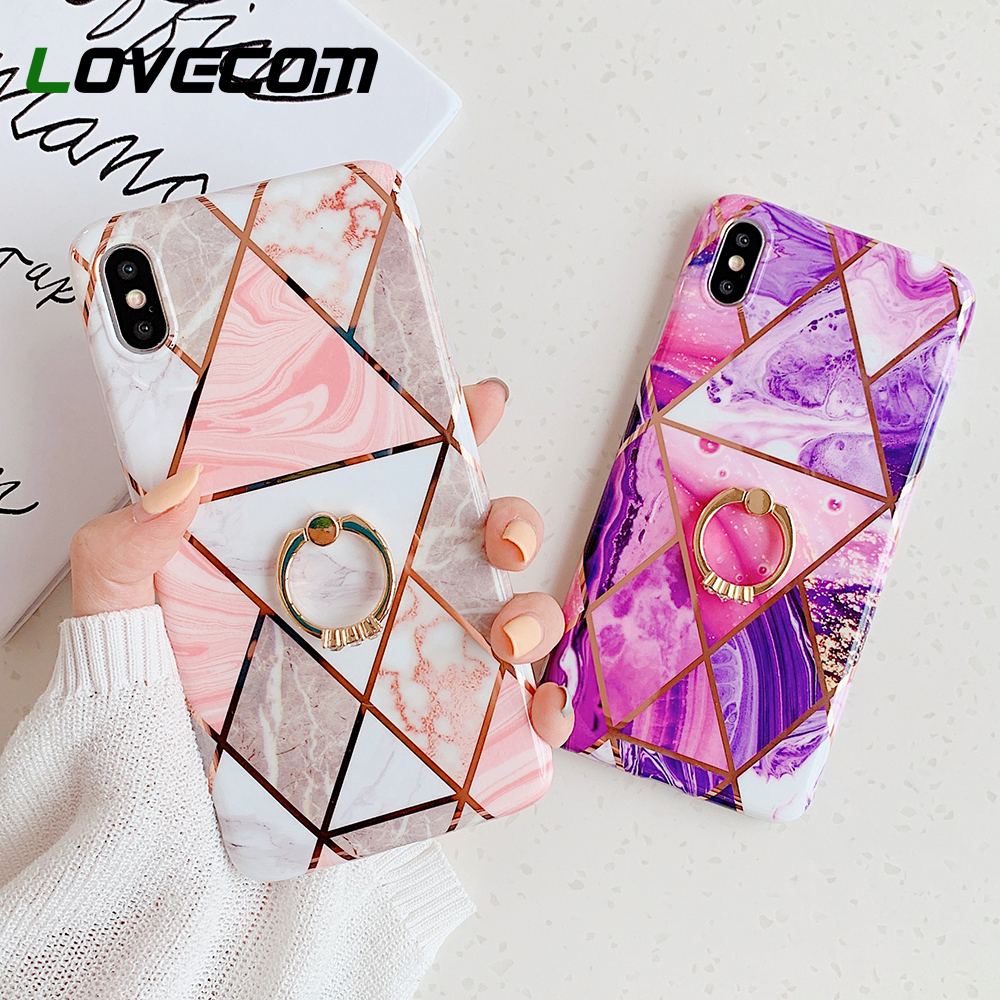 Geometric Marble Ring Holder Phone Case For IPhone 11 Pro Max XR X XS Max 7 8 6 Plus Case Soft IMD Electroplate Phone Back Cover