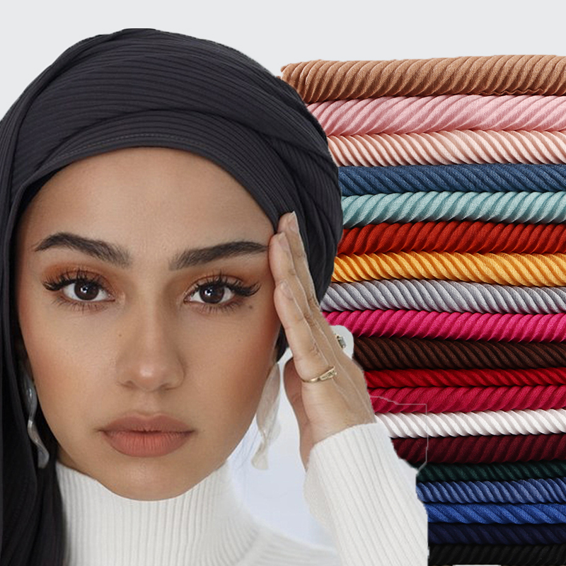 1 PC Popular Large Size TR Cotton Scarf Pleated Crinkle Women's Hijab Muslim Head Wrap Wrinkle Shawl Scarves Plain Colours