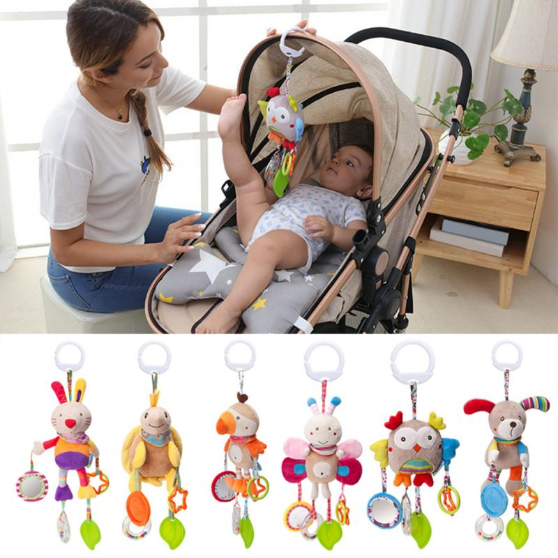 QWZ Cartoon Baby Toys 0-12 Months Bed Stroller Baby Mobile Hanging Rattles Newborn Plush Infant Toys For Baby Boys Girls Gifts