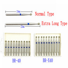 10pcs/pack Extra Long Dental Diamond Burs FG Dia-burs 1.6mm Shank for High Speed Handpiece Burs Dentist Tools