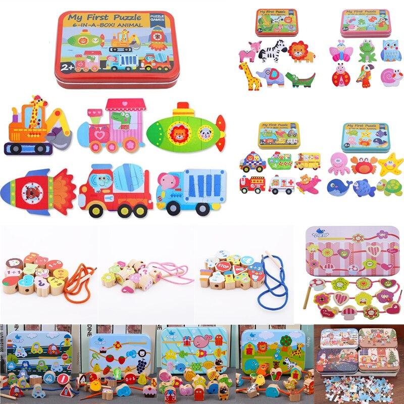 Детские игрушки-пазлы железная коробка Мультяшные животные деревянная головоломка для детей Монтессори Ранние развивающие игрушки подарк...